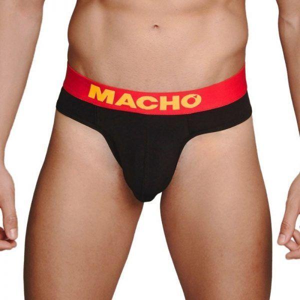 tanga sexy hombre macho en color negro con ribetes rojos de venta en sexshop online de santu