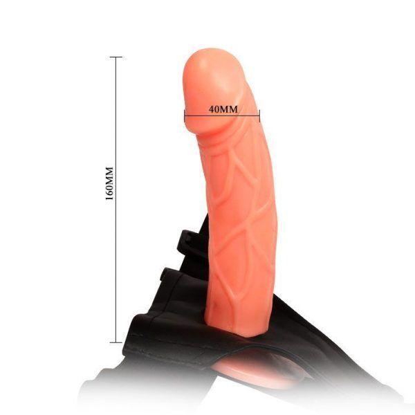 arnés sexual hueco baile 16 cm foto de las medidas del dildo y de la correa