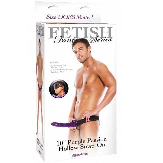 arnés sexual con pene 25 cm lila foto de la caja de venta en el sex shop online de santu