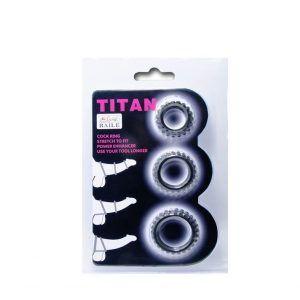 anillos para el pene en tres tamaños foto del plastico donde vienen. Se venden en el sex shop de Santu