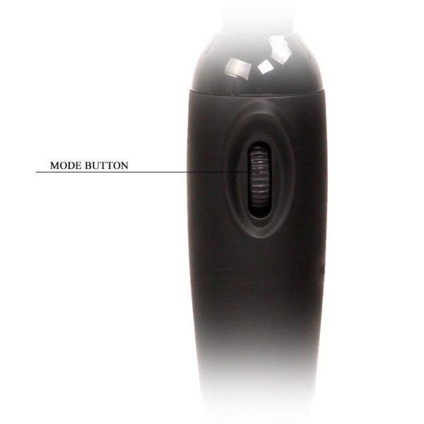 vibrador masajeador negro de la marca baile, foto detalle del regulador de intensidad, de venta en el sex shop online de santu