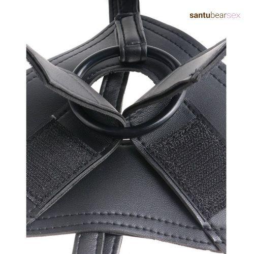imagen primer plano del velcro que sujeta el dildo en el arnés pene real de venta en el santubearsex