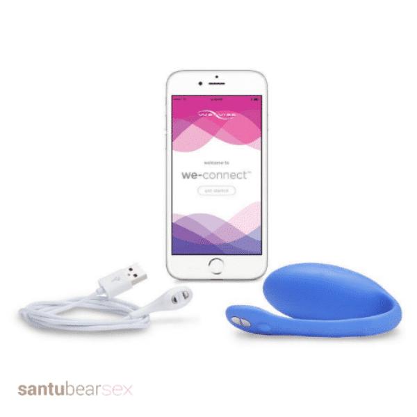 vibrador para parejas jive de la marca we vibe imagen del vibrador, el cargador y la app para movil